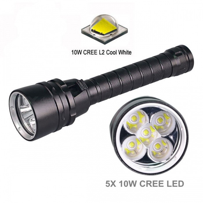 AIBBER TONE 5*XM-L2 Tactical Flashlight, 15000LM Powerful Waterproof Underwater LED Diving Torch Flash Lamp LightDiving Flashlights<br>BundlesDiving FlashlightQuantity1 setMaterialAluminum AlloyEmitter BrandCreeLED TypeXM-L2Emitter BINT6Color BINWhiteNumber of Emitters5Actual Lumens15000 lumensPower Supply18650Working Voltage   8.4 VCurrent4.5 ARuntime1-2 hoursNumber of Modes5Switch TypeForward clickySwitch LocationSideLens MaterialGlassReflectorAluminum SmoothWorking Depth Underwater200 mStrap/ClipNoPacking List1 x Diving flashlight<br>