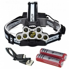 AIBBER TONE T6 Q5 9-LED USB Charging Head Light Headlamp Torch Flashlight with SOS Function for Outdoor Camping