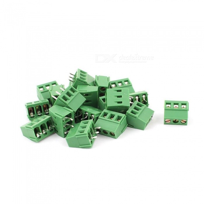ZHAOYAO 20Pcs 3 Pin 5.08mm Pitch PCB Mount Screw Terminal Block, AC 250V 8ADIY Parts &amp; Components<br>Quantity20PCSQuantity1 setMaterialPlasticEnglish Manual / SpecNoOther Features-Certification-Packing List20 x PCB Terminal Block<br>