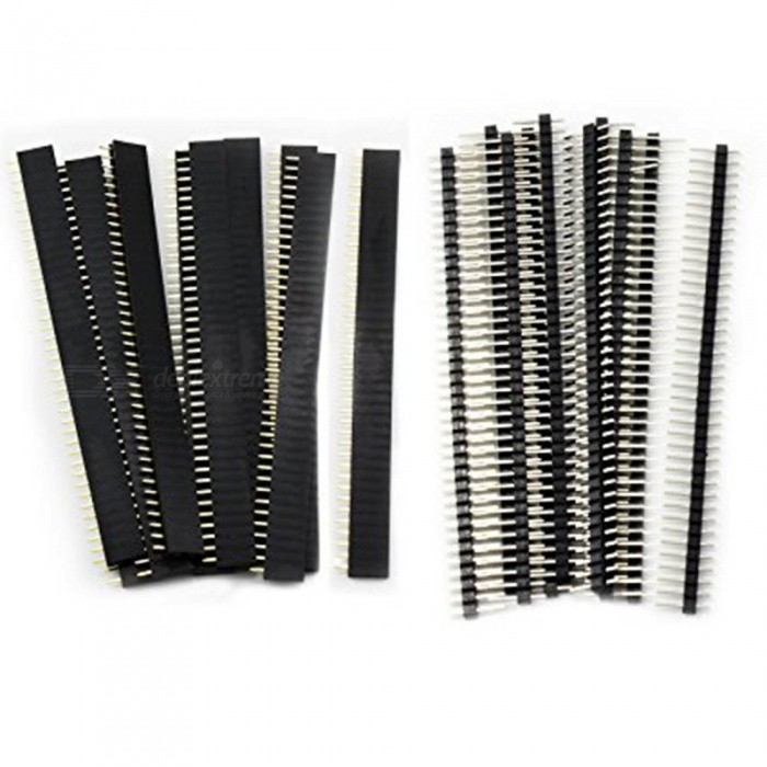 ZHAOYAO 2.54mm Breakaway PCB Board Header Connector Assortment Kit for Arduino Shield (20 PCS / 40Pin Male and Female)DIY Parts &amp; Components<br>Quantity20PCSQuantity1 setMaterialPlasticEnglish Manual / SpecNoOther Features-Certification-Packing List20 x 40Pin Male and Female<br>