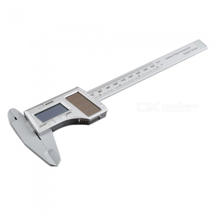 ZHAOYAO Solar Caliper, 0-150mm LCD Digital Electronic Carbon Fiber Vernier Caliper Ruler MicrometerOther Measuring &amp; Analysing Instruments<br>ColorSilverModel101Quantity1 setMaterialCarbon fiberPowered ByOthers,1, solar panels (light intensity greater than 200 LUX) 2,1.5 V button battery (light intensity less than 200 LUX)Other FeaturesMeasurement range resolution allowable error<br> 0-150 mm / 6 0.01 mm / 0.0005 ± 0.03 mmPacking List1 x Caliper<br>