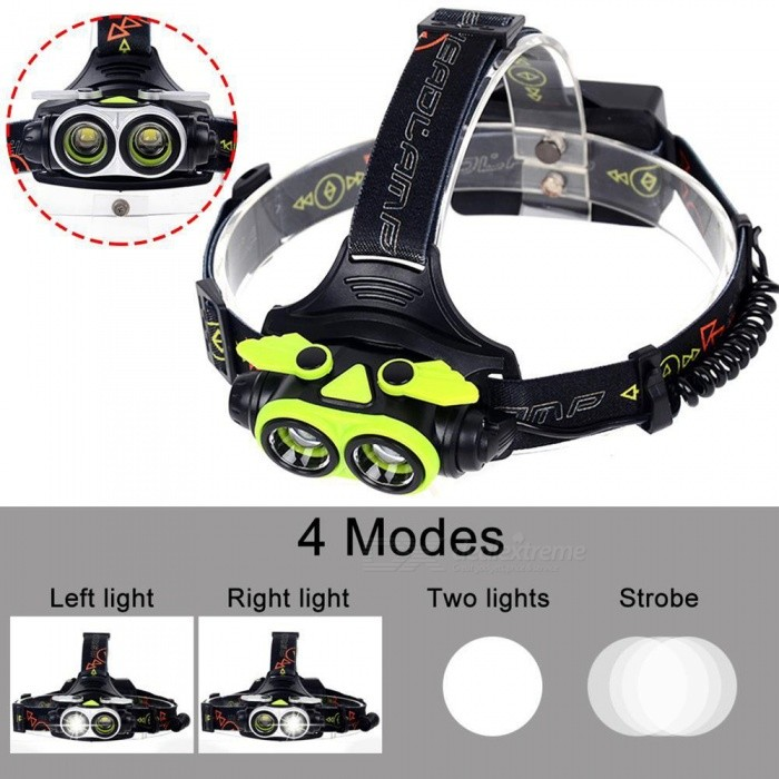 AIBBER TONE 20000 LM Cree 2 x T6 LED Headlight Flashlight Torch, USB Rechargeable HeadlampHeadlamps<br>BundlesgreenQuantity1 setMaterialAluminum + ABSEmitter BrandCreeLED TypeXM-LEmitter BINT6Color BINWhiteNumber of Emitters2Working Voltage   3.7-4.2V VPower Supply18650Current3 AActual Lumens20000 lumensRuntime4-5 hoursNumber of Modes4Mode ArrangementHi,Fast Strobe,Others,Left light/Right lightMode MemoryNoSwitch TypeClicky SwitchSwitch LocationHead TwistyLensGlassReflectorAluminum SmoothBand Length50 cmCompatible CircumferenceGeneral purposeBeam Range350-450 mPacking List1 x 2-LED Headlamp1 x USB Cable<br>