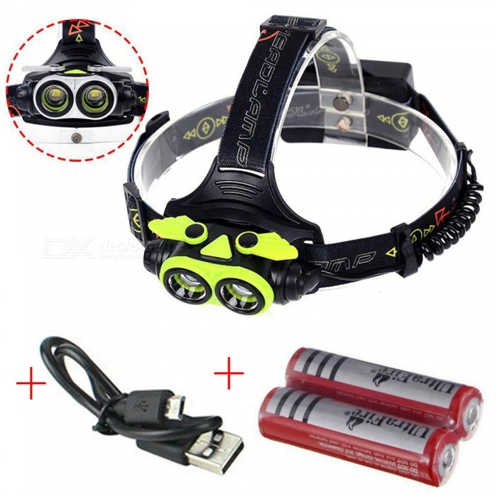 AIBBER TONE 20000 LM Cree 2 x T6 LED Headlight Flashlight Torch, USB Rechargeable HeadlampHeadlamps<br>BundlesGreen With batteryQuantity1 setMaterialAluminum + ABSEmitter BrandCreeLED TypeXM-LEmitter BINT6Color BINWhiteNumber of Emitters2Working Voltage   3.7-4.2V VPower Supply18650Current3 AActual Lumens20000 lumensRuntime4-5 hoursNumber of Modes4Mode ArrangementHi,Fast Strobe,Others,Left light/Right lightMode MemoryNoSwitch TypeClicky SwitchSwitch LocationHead TwistyLensGlassReflectorAluminum SmoothBand Length50 cmCompatible CircumferenceGeneral purposeBeam Range350-450 mPacking List1 x 2-LED Headlamp1 x USB Cable2 x 18650 battery<br>