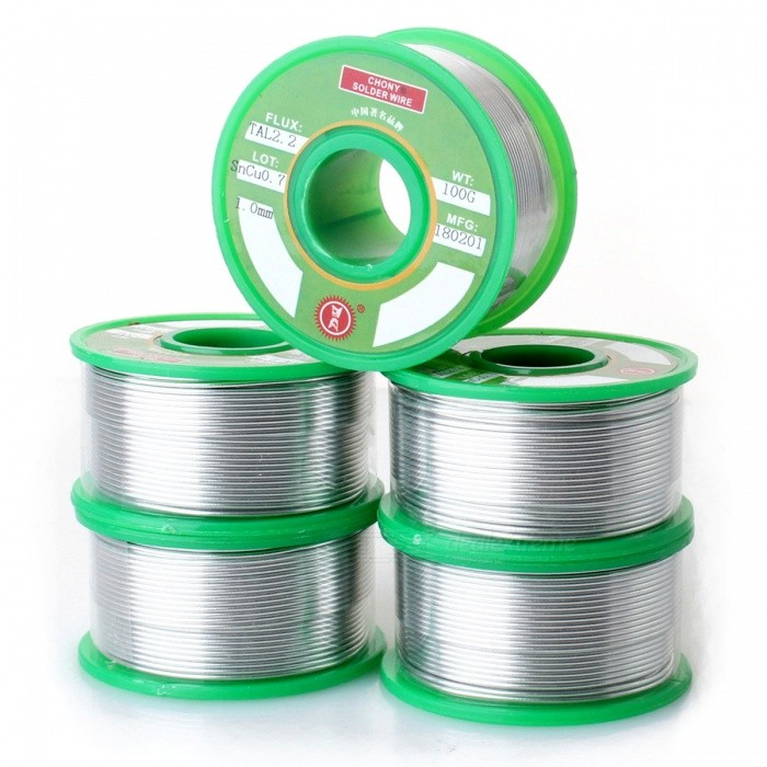 High-Quality Tin Solid Solder Wire Reel Spool - Silver (1.0mm / 100G*5)Soldering Supplies<br>Form  Color100G 5PCSPower1.0MMModel180201Quantity5 pieceMaterialTinInput VoltageNO VPower AdapterOthers,NOMax TemperatureNO ?Temperature ControlNo ?Packing List5 x Reel solder wires<br>