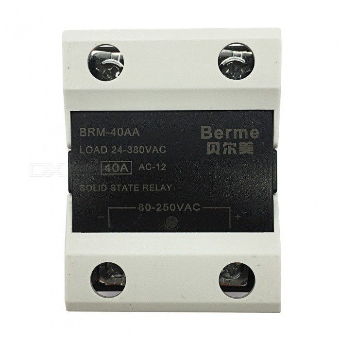 BRM-40AA 80-250V AC to 380V AC 40A Single Phase Solid State AC-AC RelayDIY Parts &amp; Components<br>Rated Current40AModelBEM-40AQuantity1 pieceMaterialPlastic,MetalEnglish Manual / SpecNoCertificationISO9001Packing List1 x BEM-40AA  Solid State Relay.<br>