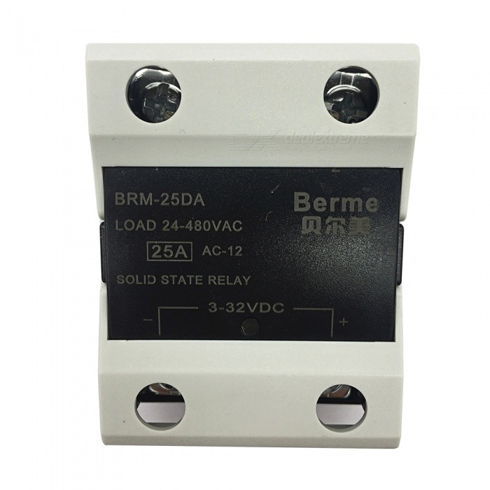 BRM-25DA 3-32V DC to 480V AC 25A Single Phase Solid State AC-DC RelayDIY Parts &amp; Components<br>Rated Current25AModelBEM-25DAQuantity1 pieceMaterialPlastic,MetalEnglish Manual / SpecNoCertificationISO9001Packing List1 x BEM-25DA  Solid State Relay.<br>