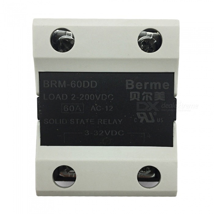 BEM-60DD 3-32V DC to 2-220V DC 60A Single Phase Solid State DC-DC RelayDIY Parts &amp; Components<br>Rated Current60AModelBEM-60DDQuantity1 pieceMaterialPlastic,MetalEnglish Manual / SpecNoCertificationISO9001Packing List1 x BEM-60DD  Solid State Relay.<br>