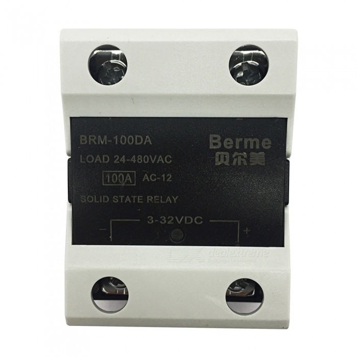 BRM-100DA 3-32V DC to 480V AC 100A Single Phase Solid State AC-DC RelayDIY Parts &amp; Components<br>Rated Current100AModelBEM-100DAQuantity1 pieceMaterialPlastic,MetalEnglish Manual / SpecNoCertificationISO9001Packing List1 x BEM-100DA  Solid State Relay.<br>
