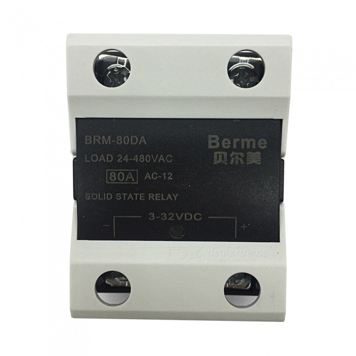 BRM-80DA 3-32V DC to 480V AC 80A Single Phase Solid State AC-DC RelayDIY Parts &amp; Components<br>Rated Current80AModelBEM-80DAQuantity1 pieceMaterialPlastic,MetalEnglish Manual / SpecNoCertificationISO9001Packing List1 x  BEM-80DA  Solid State Relay.<br>