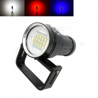 AIBBER TONE Diving LED Flashlight Underwater Photography Light, 15 XM-L2 White LED 18000 Lumens with 6 x Blue + 6 x Red Light