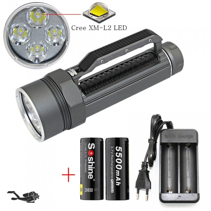AIBBER TONE 4x Cree XM-L2 LED Underwater Diving Flashlight, Waterproof 4800 Lumens 26650 Lanterna Torch with Battery - GrayDiving Flashlights<br>ColorGray (With Battery)ModelDL0022B/GQuantity1 setMaterialAluminum alloyEmitter BrandCreeLED TypeXM-L2Emitter BINothers,L2Color BINWhiteNumber of Emitters4Theoretical Lumens4800 lumensActual Lumens4800 lumensPower Supply26650Working Voltage   5 VCurrent4.5 ARuntime1-2 hoursNumber of Modes3Mode ArrangementHi,Mid,LowMode MemoryNoSwitch TypeReverse clickySwitch LocationSideLens MaterialToughened glass lensReflectorAluminum SmoothWorking Depth Underwater100 mStrap/ClipStrap includedPacking List1 x Flashlight 1 x Black glue rope2 x Soshine 26650 5500mAh batteries1 x Charger<br>