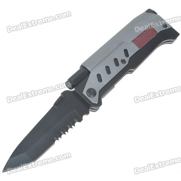 Outdoor Wilderness Survival Multi-Function Knife Kit with Flint/Clip & White LED light (4*LR621)