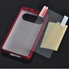 Protective Matte Plastic Backside Case w/ Screen Guards + Cleaning Cloth for HTC Schubert HD7 (Red)