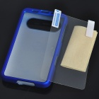 Protective Matte Plastic Backside Case w/ Screen Guards + Cleaning Cloth for HTC Schubert HD7 (Blue)