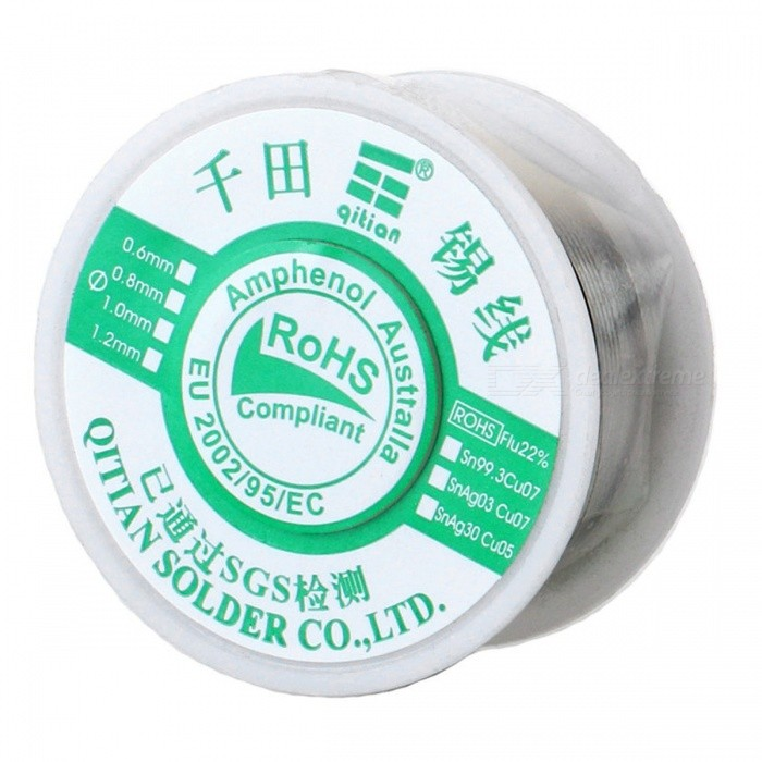High-Quality Tin Solid Solder Wire Reel Spool - Silver (1.2mm / 100G)Soldering Supplies<br>Form  Color100G 1PCPower1.2MMModel180201Quantity1 pieceMaterialTinPower AdapterOthersPacking List1 x Reel solder wire<br>