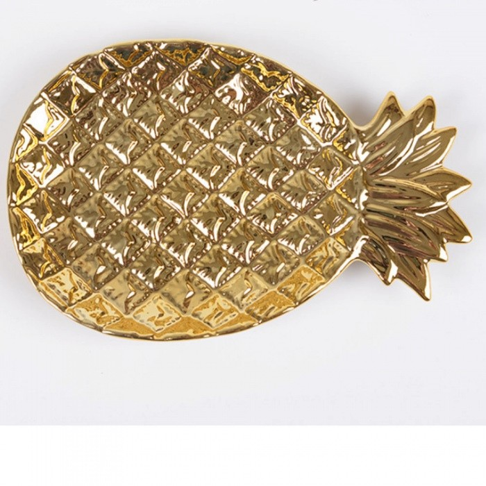 Nordic Style Ceramic Pineapple-Shaped Jewelry Storage Tray, Cake Fruit Dish Plate - GoldenOther Cosmetic Tools<br>ColorGoldenModelPineapple plateMaterialCeramicQuantity1 setPower SupplyOthers,NOPower AdapterOthers,NOPowerNO WPacking List1 x Jewelry tray<br>