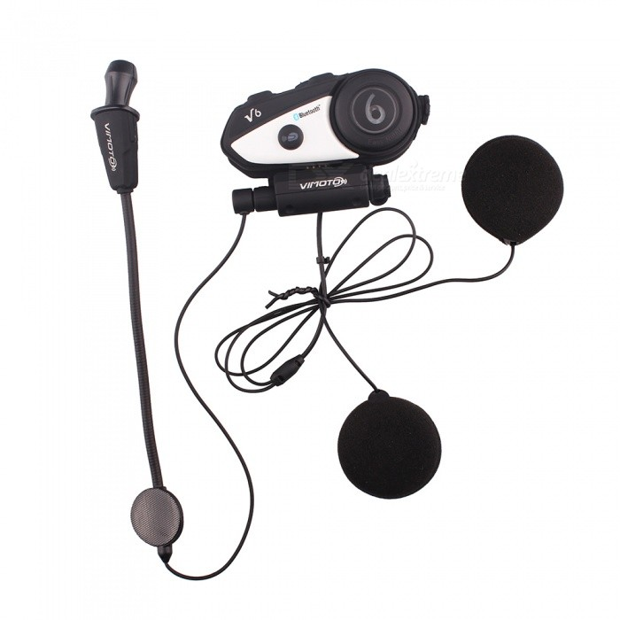 V6 Waterproof Motorcycle Helmet BT Bluetooth Interphone Headset Intercom - Black (US Plug)Motorcycle Interphone<br>ColorBlack (US Plug) Quantity1 setMaterialABSBluetooth VersionBluetooth V3.0Transmit Distance10 mIntercom FunctionYesTalk Time6-10 hoursStandby Time10 hoursWaterproof FunctionYesPacking List1 x  V6 Bluetooth Headset1 x Mini-USB charging cable 1 x Detachable earpieces1 x Low-profile Microphone1 x  Mounting 1 x User Manual<br>