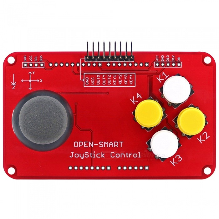 OPEN-SMART PS2 Joystick Keypad Shield Joystick Game Controller Breakout Module Shield for Arduino / Nano / Pro MiniSensors<br>ColorRedModelN/AQuantity1 pieceMaterialPCB + Alloy + PlasticApplicationThis is joystick control and button keypad breakout board module.Working Voltage   3-5.5 VEnglish Manual / SpecYesDownload Link   http://drive.google.com/drive/folders/1YUy6DYcF0T5iGxyB9vp3cKVTrEDO-eIq?usp=sharingPacking List1 x Module<br>