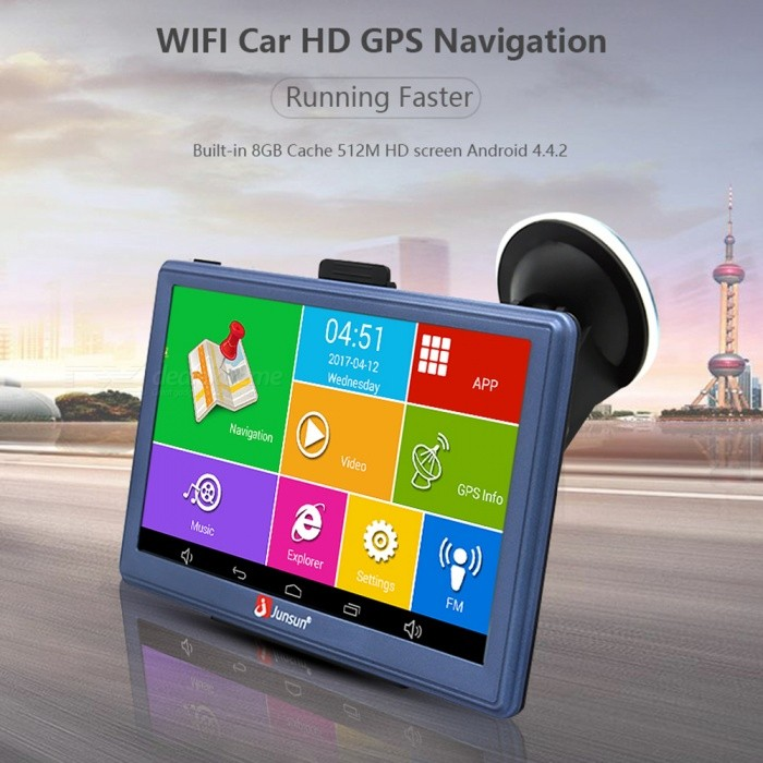 Junsun 7 Android Bluetooth Wireless Car GPS Navigator (Russia Map)Car GPS Navigators<br>Map RegionRussiaModelM515Quantity1 setMaterialCompositesBrandJunsunChipsetOthers,(MT8127L quad-core 1.35GHz)Operating SystemOthers,Android 4.4.2CPUOthers,MT8127A quad-core Cortex-A7 1.35GHzProcessor SpeedMT8127L quad-core 1.35 GHzGPS ModuleOthersReceiver Channel Number20Warm Startup Time1 sCold Startup Time1 sHot Startup Time1 sPosition Accuracy18-20AntennaBuilt-inBuilt-in Memory / RAM512MBMemory TypeBuilt-in flash memoryBuilt-in Flash Memory8GBExternal Memory CardTFMax External Memory Supported32 GBMap CardNoSupport MapIGO,SygicScreen SizeOthers,7 inchesScreen TypeCapacitive screenScreen Resolution800 x 480Screen ColorColorful Rainbow ColorMenu LanguageOthersImagesJPGE-bookTXTFM Radio76~108MHzFM Transmitter76~108MHzWi-Fi802.11aBluetooth VersionBluetooth V2.0LoudspeakerBuilt-inBuilt-in MicrophoneYesDVRYesCameraBuilt-inTV FunctionAnalog TVAV-INYesWorking Time10 hourCharging Time2 hourBattery TypeLi-ion batteryBattery Capacity800 mAhInterface1 x mini USB,1 x TFPacking List1 x Host1 x Special car charger1 x USB data cable1 x Stent1 x Back ridge1 x English manual<br>