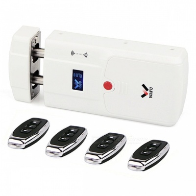 WAFU WF-011A Security Keyless Smart Remote Door Locks, Wireless Invisible Anti-theft Lock with 4 Remote Keys - White