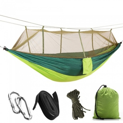 260 x 140cm Outdoors 210T Nylon Spinning Convenient Double Mosquito Net Hammock - Light Green + Blackish Green