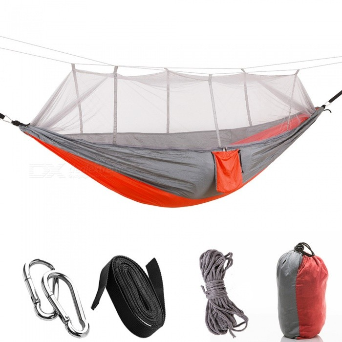 260 x 140cm Outdoors 210T Nylon Spinning Convenient Double Mosquito Net Hammock - Gray + NacaratTent And Shelter<br>ColorGray + NacaratQuantity1 pieceModel001MaterialNylon shiozeBest UseFamily &amp; car camping,Camping,TravelSeasons4 seasonsSleeping capacity2 personsNumber of doors2 doorsRainfly Fabric210T Nylon shiozeTent Body Fabric210T Nylon shiozePole MaterialNOPacking List1 x Hammock2 x Metal Buckles2 x Hammock Bandages (200cm)2 x Mosquito net Bandages (430cm)<br>