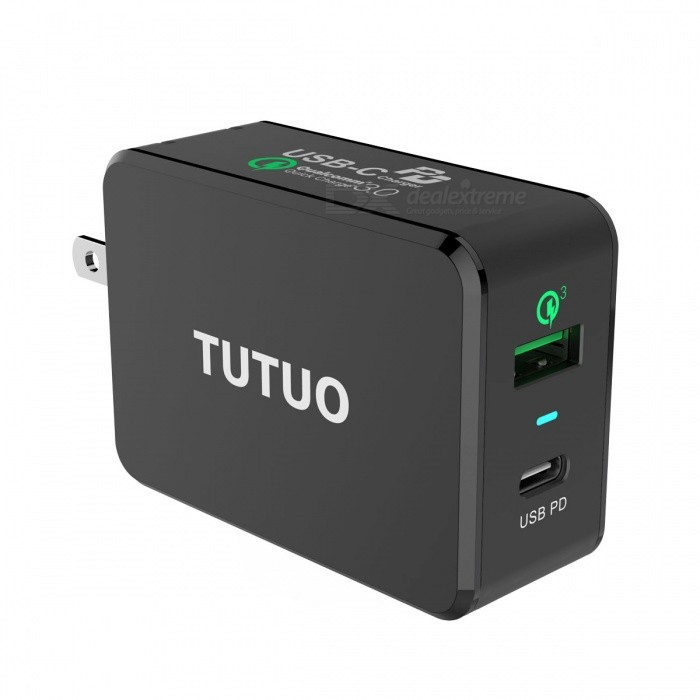 TUTUO USB-C PD Charger, Type-C + Quick Charge 3.0 Wall Charger with Power Delivery, Fast Charge Power Adapter - US PlugAC Chargers<br>Plug TypeBlack (US Plug)ModelPD-030PTMaterialFlame retardant materialQuantity1 pieceCompatible ModelsIPHONE 8 / X / 8 Plus, Galaxy S8 / S8 Plus, MOTO Z, Mate 10, MacBook Pro, Pixel 2 XL, and MoreInput Voltage50/60HZ 100-240 VOutput Current(3.6V-6.5V )3A,(6.5V-9V)2A,(9V-12V)1.5 AOutput Power33 WLED IndicatorYesCertificationCE,ROHS,FCC CertificationOther FeaturesQualcomm quick charge3.0 technology:<br>Up to 4X faster than standard chargers, able to charge compatible devices to 80% in just 35 minutes ,the voltage flexible change from 3.6V to 12v.<br>Compatible with Type-C and provides standard charging for non-Quick Charge devices.MTK/Pump Express/Huawei FCP<br>7.Efficient synchronous rectification scheme, Up to 87% of the conversion rate.Packing List1 x USB Type-C Charger PD Wall Charger 33W with Power Delivery 1 x User manual<br>