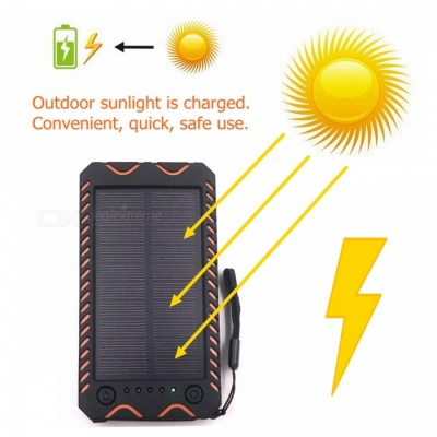 ZHAOYAO 10000mAh DC 5V Solar Powered Mobile Power Bank Dual USB Output with White Emergency Light Flashlight, Compass - Orange
