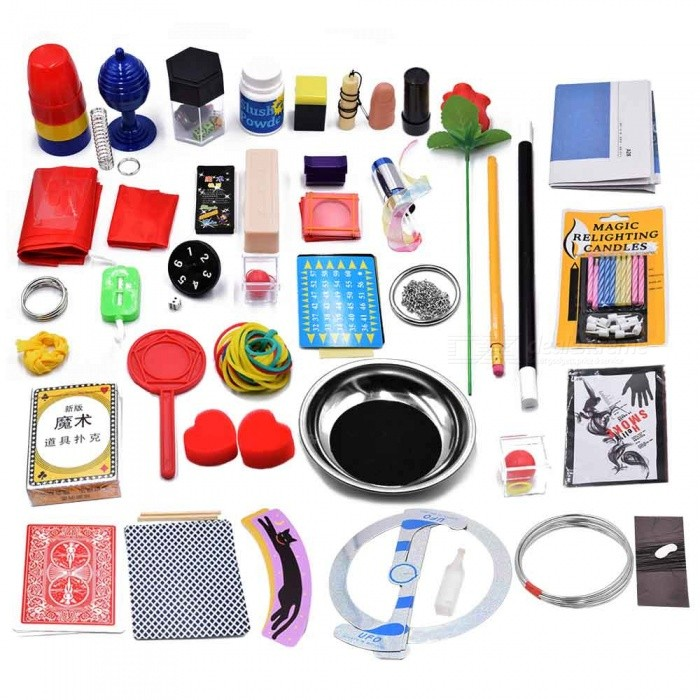 Magic Props Set, Stage Toy Kit for ChildrenMagic Supplies<br>ColorBlack + Red + PolychromaticMaterialPlasticQuantity1 setSuitable Age 3-6 months,6-9 months,9-12 months,13-24 monthsPacking List1 x Gift box1 x Toy Kit<br>