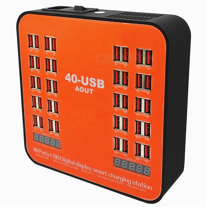 40 Ports USB Digital Display Smart Charging Station with Cooling Fan for Phone, Table, PSP, EU Plug - Orange + BlackAC Chargers<br>ColorOrange + Red + BlackPower AdapterEU PlugModelN/AMaterialABSQuantity1 pieceCompatible Models5V ElectronicsInput Voltage100-240 VOutput Current40(Max.) AOutput Power200 WOutput Voltage5 VLED IndicatorYesCable Length110 cmPacking List1 x Charging Station1 x Power Cable<br>