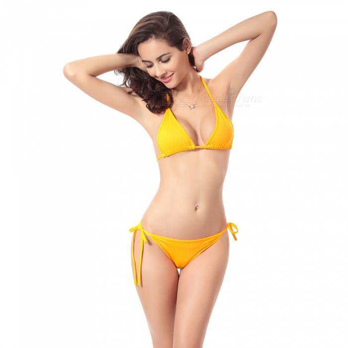 cbd5a66567 Women s Sexy Bikini Swimsuit Swimwear Bra + Underwear Set - Yellow ...