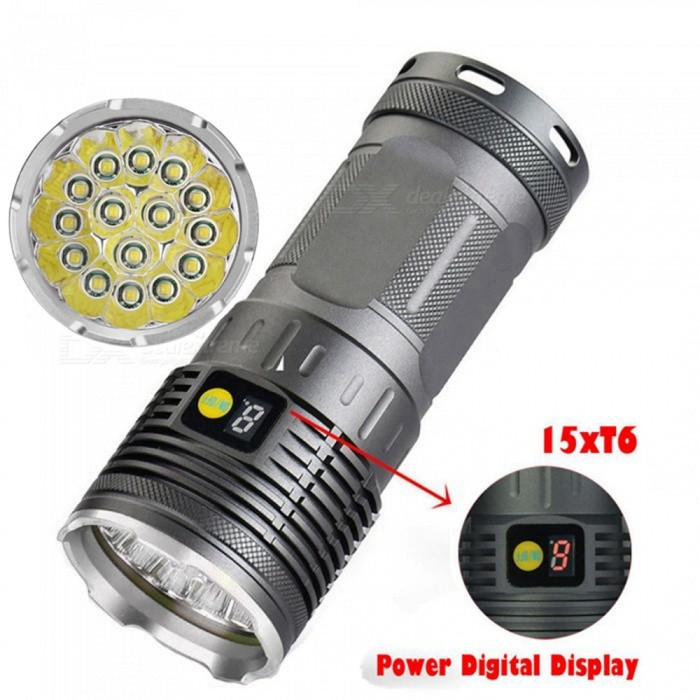 AIBBER TONE Ultra Bright Strong Light Waterproof Rechargeable T6 15-LED Hunting Flashlight (4 x 18650)18650 Flashlights<br>Color15 x XM-L T6 LEDBrandOthers,AIBBER TONEQuantity1 pieceMaterialAluminium alloyOther FeaturesWaterproof,RechargeableEmitter BrandCreeLED TypeXM-LEmitter BINT6Number of EmittersOthers,15Color BINWhiteWorking Voltage   3.7-4.2 VPower Supply4 x 18650Current3 AOutput(lumens)1001 and aboveActual Lumens15000 lumensRuntime(hours)3.1-4Runtime3-4 hoursNumber of Modes4Mode ArrangementHi,Mid,Low,Slow StrobeMode MemoryNoSwitch TypeClicky SwitchSwitch LocationSideLensGlassReflectorAluminum SmoothBeam Range150-200 mStrap/ClipNoPacking List1 x Flashlight1 x Charger<br>