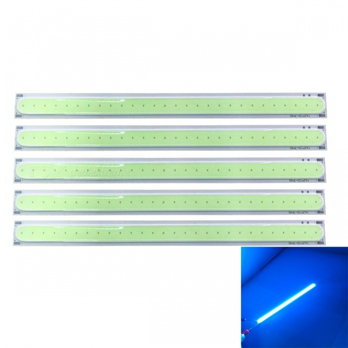 JRLED 170x15mm 5W COB 28-LED Ice Blue LED Module (DC 12V / 5 PCS)Leds<br>Emitting ColorIce BlueSize17cmModelN/AMaterialAluminum alloy + silica gelQuantity5 piecesPower5 WRate VoltageDC12VWorking Current300-400 mADimmableNoEmitter TypeCOBTotal Emitters28Beam Angle140 °Color Temperature12000K,Others,N/ATheoretical Lumens400 lumensActual Lumens300 lumensWavelength490nmConnector TypeOthers,connectionCertificationCE ROHSOther FeaturesThis product uses the BDO Yunda flip chip, with high brightness, high temperature characteristics, and flip chip, chip direct solid crystal chip directly, without gold links, longer service life.Packing List5 x 12V COB LED Modules<br>