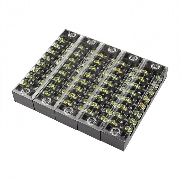 5 Pcs TB-1508 8 Positions Dual Rows 600V 15A Wire Barrier Block Terminal StripsDIY Parts &amp; Components<br>ModelTB1508ModelTB1508Quantity5 piecesMaterialCopper, PVCEnglish Manual / SpecNoOther Features600V    15ACertificationISO9001Packing List5 x Barrier Terminal Strips<br>