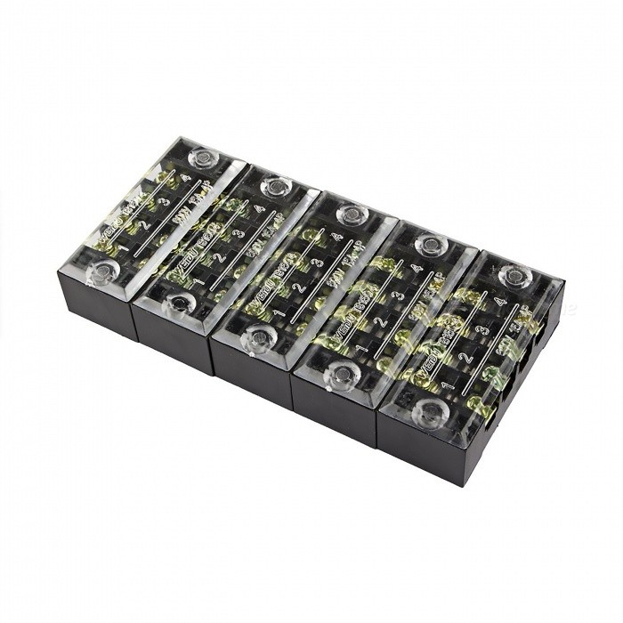 5 Pcs TB-1504 4 Positions Dual Rows 600V 15A Wire Barrier Block Terminal StripsDIY Parts &amp; Components<br>ModelTB1504ModelTB1504Quantity5 piecesMaterialCopper, PVCEnglish Manual / SpecNoOther Features600V    15ACertificationISO9001Packing List5 x Barrier Terminal Strips<br>