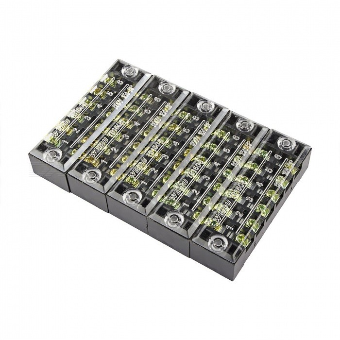 5 Pcs TB-1506 6 Positions Dual Rows 600V 15A Wire Barrier Block Terminal  Strips