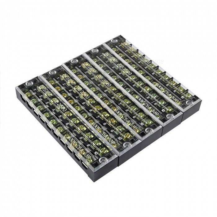 5 Pcs TB-2510 10 Positions Dual Rows 600V 25A Wire Barrier Block Terminal StripsDIY Parts &amp; Components<br>ModelTB2510ModelTB2510Quantity5 piecesMaterialCopper, PVCEnglish Manual / SpecNoOther Features600V     25ACertificationISO9001Packing List5 x Barrier Terminal Strips<br>