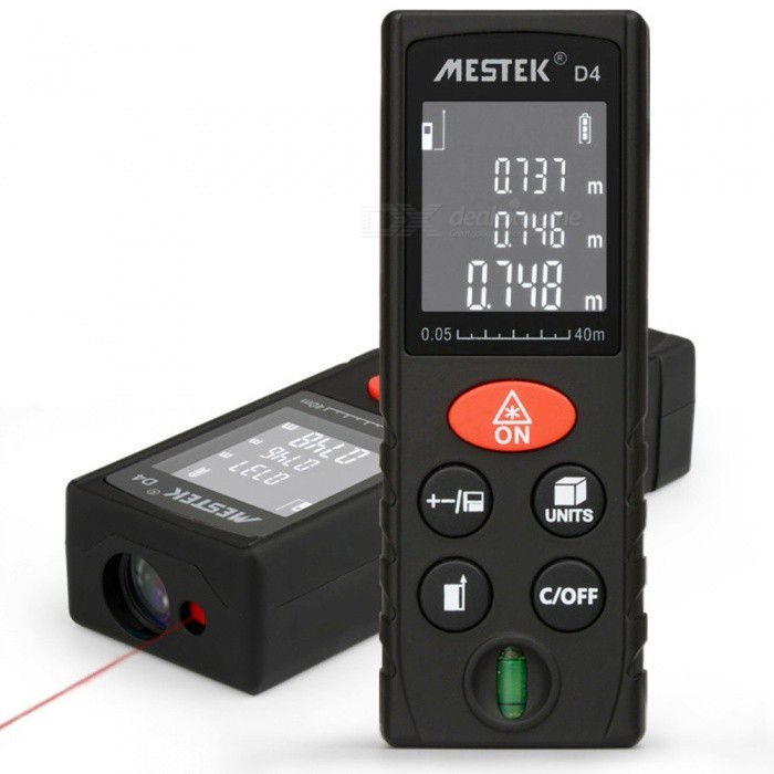 D4 40M Medidor Trena Laser Distance Meter Laser Mesure Tape Laser Rangefinder Range FinderLaser Rangefinder, Electronic Distance Meter<br>Length40mModelD4Quantity1 piecesMaterialABSDetection Range0-40mMeasuring Accuracy2mmLaser LevelInfraredMax.Storage20DisplayReverse display screenPowered ByAAA BatteryBattery included or notYesEnglish Manual / SpecYesCertificationCEPacking List1 x Laser Rangefinder1 x English Instruction<br>