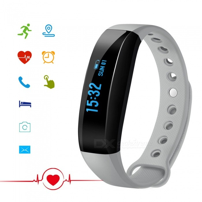 CUBOT V3 0.88 OLED Bluetooth V4.0 Smart Band Bracelet - GraySmart Bracelets<br>ColorGrayModelCUBOT V3Quantity1 setMaterialMedical-grade TPU + PC + metalWater-proofIP65Bluetooth VersionBluetooth V4.0Touch Screen TypeOthers,OLEDOperating SystemOthers,Nordic51822 Embedded Software SystemCompatible OSCompatible with Android 4.3 and above / iOS 8.0 and above Bluetooth V4.0 smart phonesBattery Capacity80 mAhBattery TypeLi-ion batteryStandby Time7 daysCertificationCE, RoHS, WEEE, MSDS, FCC  UN 38.3Other FeaturesAPP languageGerman, English, Spanish, French, Italy, Russian, ChinesePacking List1 x Band1 x Charging Cable (Micro 5PIN)1 x User Manual<br>