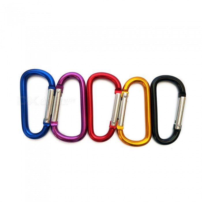 No.8 D-Type Outdoor Aluminum Alloy Carabiner Clip Buckle for Camping, Mountaineering, Traveling - 5PCS / Ramdom ColorColorNo. 8 / Random ColorQuantity5 piecesMaterialAluminum alloyPacking List5 x Carabiner Clip<br>