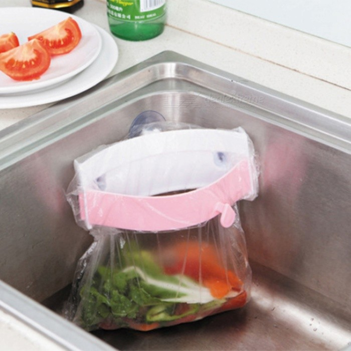 Portable Clip-On Type Sink Garbage Bag Rack with Strong Suction - Pink