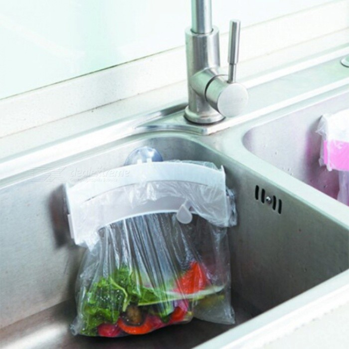 Portable Clip-On Type Sink Garbage Bag Rack with Strong Suction - Gray