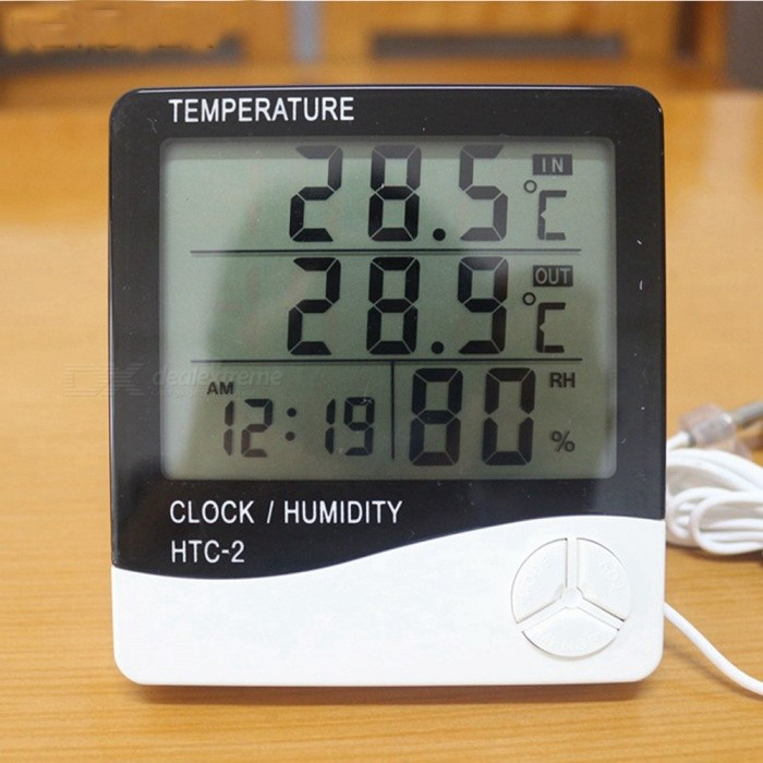 Digital LCD Thermometer Hygrometer, Electronic Temperature Humidity Meter, Weather Station Tester Alarm ClockVoltmeter or Thermometers or Hygrometers<br>Form  ColorWhite + BlackForm  ColorWhiteModelhtc-2Quantity1 setMaterialABSFunctionTemperature display,humidity display,clockScreen Size8 x 5.8 cmTemperature Range-50~+70 ?Power SupplyBatteryPacking List1 x Temperature and humidity meter<br>