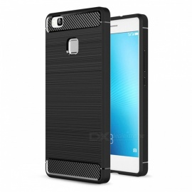 Naxtop Wire Drawing Carbon Fiber Textured TPU Brushed Finish Soft Phone Back Cover Case For Huawei P9 Lite