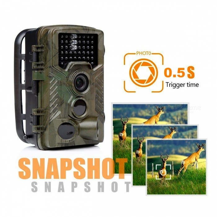 8 Mega Pixels Color CMOS Video 1080P Photographed Outdoor Hunting Camera - Camouflage GreenSport Cameras<br>ColorCamouflage greenShade Of ColorGreenMaterialPlasticQuantity1 pieceImage SensorCMOSAnti-ShakeNoFocal DistanceF=3.0 mmFocusing Range20M 120Effective Pixels8MPMax. Pixels16 MPImagesJPEGStill Image Resolution4032 x 3024VideoAVIVideo Resolution1920 x 1080Video Frame RateOthers,65Cycle RecordNoISO400Exposure CompensationNoSupports Card TypeTFSupports Max. Capacity32 GBLCD ScreenYesScreen Size2 inchBattery Measured Capacity 600 mAhNominal Capacity600 mAhBattery TypeAABattery included or notNoBattery Quantity8 setSupported LanguagesEnglish,RussianPacking List1 x Camera1 x Rope1 x Cable1 x CD-ROM1 x USB line<br>