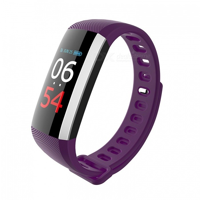 Measy G19 Bluetooth V4.0 Fitness Bracelet Smart Watch Blood Pressure Pulse Monitor Pedometer Smart Band - PurpleSmart Bracelets<br>ColorPurpleModelG19Quantity1 pieceMaterialTPUWater-proofIP67Bluetooth VersionBluetooth V4.0Touch Screen TypeYesCompatible OSAndroid 4.4 and above, iOS 7.1 and aboveBattery Capacity90 mAhBattery TypeLi-polymer batteryStandby Time15 daysPacking List1 x Smart Bracelet1 x User Manual<br>