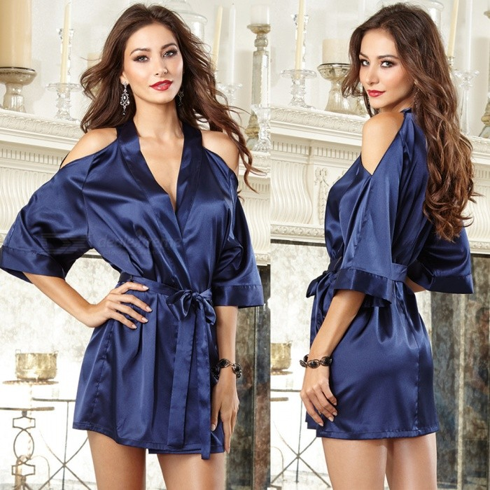 Ultra Sexy Strapless Half Sleeve Ladies Bathrobe for Home Use - Dark BlueSexy Lingerie<br>ColorDark BlueQuantity1 setShade Of ColorBlueMaterialPolyesterStyleUltra SexyShoulder Width36-40 cmChest Girth78-110 cmTotal Length68 cmPacking List1 x Bathrobe1 x Belt<br>