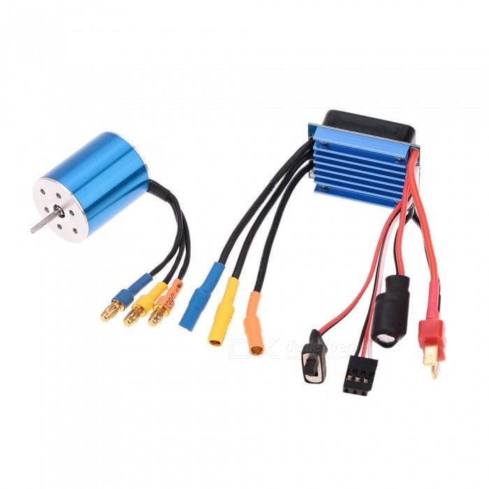 2430 7200KV 4P Sensorless Brushless Motor with 25A Brushless ESCElectric Speed Controller for 1/16 1/18 RC Car TruckRepair Parts and Tools<br>ColorBlue + PolychromaticyMaterialAluminium alloyQuantity1 setCompatible ModelThe set includes a 2430 7200KV 4P Brushless Motor and a 25A brushless Electric Speed Controller(ESC), which is perfect for the 1/16 1/18 RC auto car on road.Packing List1 x 2430 7200KV 4P Sensorless Brushless Motor1 x 25A Brushless Electric Speed Controller<br>