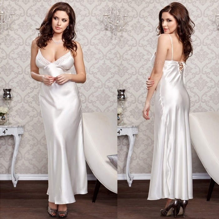 Large Size Sexy Lace Deep-V Skirt, Super Long Fun Nightdress Lingerie for Lady - WhiteSexy Lingerie<br>ColorWhiteQuantity1 setShade Of ColorWhiteMaterialSilkStyleUltra SexyShoulder Width36-40 cmChest Girth78-110 cmTotal Length148 cmPacking List1 x Long dress pajamas<br>