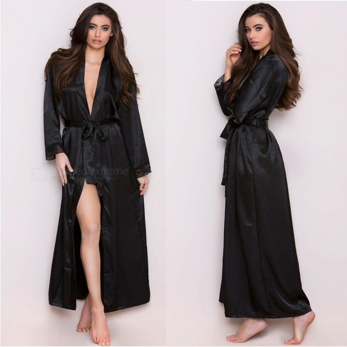 Fat Plus Size Deep V Sexy Bathrobe Night Skirt, Lace Ice Silk Long Fun Robe for Women - BlackSexy Lingerie<br>ColorBlack / PlusQuantity1 setShade Of ColorBlackMaterialPolyesterStyleUltra SexyShoulder Width36-42 cmChest Girth78-128 cmTotal Length135 cmPacking List1 x Long dress nightgown1 x Belt<br>